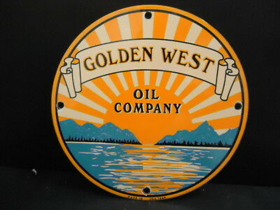 Vintage Golden West Motor Oil Porcelain Gas Service Station Sign (Dated 1949)