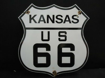 Vintage State Of Kansas Route 66  Porcelain Road Sign