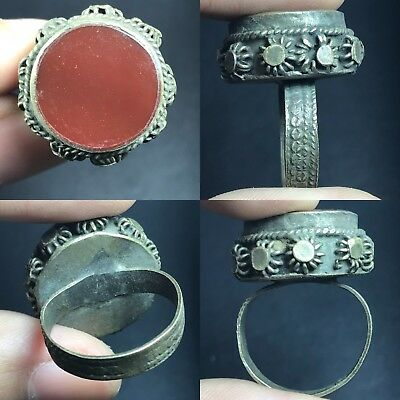 Old Unique Agate Roman Ancient Bronze Ring
