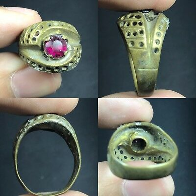 Lovely Red Roman Glass Ancient Bronze Ring