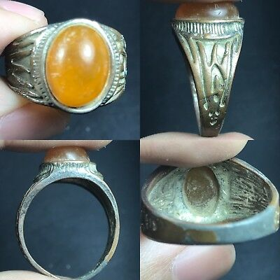 Wonderful Ancient Roman HONEY Color Glass Bronze Ring