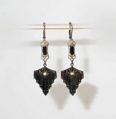 VTG 20s ART DECO EMBOSSED STEPPED BLACK JET ART GLASS DANGLE  EARRINGS!