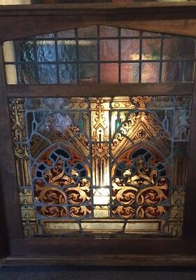 "ANTIQUE AMERICAN STAINED GLASS WOOD WINDOW 53x48"" NEW YORK ARCHITECTURAL SALVAGE"