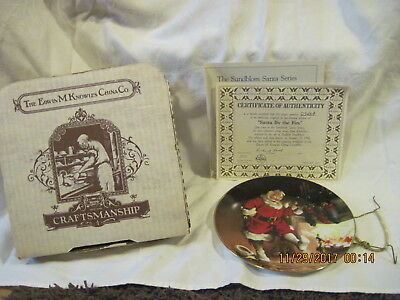 """Knowles """"Santa By the Fire"""", 1989 Collectible Plate, Orig Box & Papers, Hanger"""