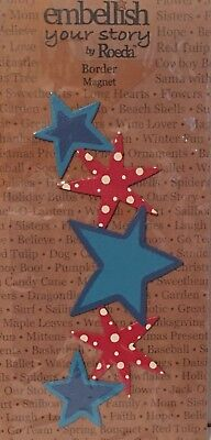NIP Embellish Your Story Patriotic Star Border Magnet By Roeda 4th of July