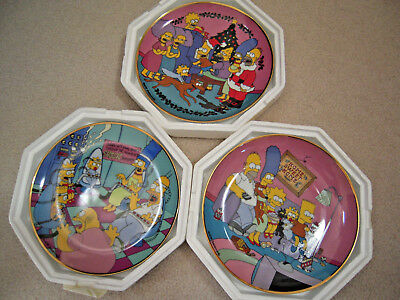Three Simpsons Family Franklin Mint Heirloom Collectible Plates