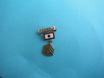 WWII home front Son In Service pin with USA and sterling Tech-4 insignia