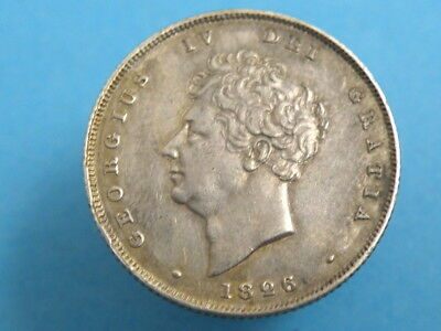 1826 KING GEORGE IV - SILVER SHILLING COIN - Bare Head Portrait - Good Coin