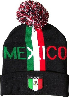 99bf98e0f4d2ed Mexico Soccer Winter Hat w/ Pom Mexican Flag Black Unisex World Cup Football