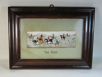 Antique 1880s Woven Silk Stevengraph THE MEET Fox Hunting w/ Horses - Framed