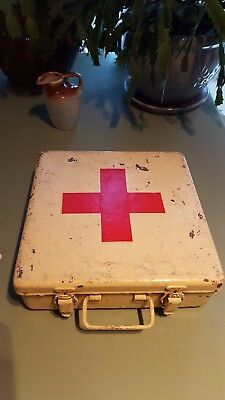 Antique Vintage  RED CROSS First Aid Tin Metal Storage Box