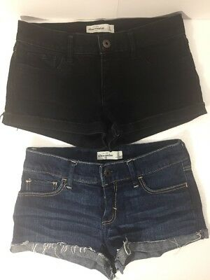 Lot Of 2 Abercrombie Kids Girls Cute stretch Black Blue Shorts Size 16       B67