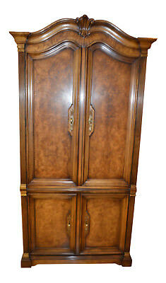 Vintage White Furniture Country French Style Burl-Wood Armoire