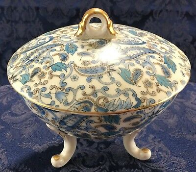 Vintage Lefton China Hand Painted Footed Vanity Dresser Powder Jar Blue Floral