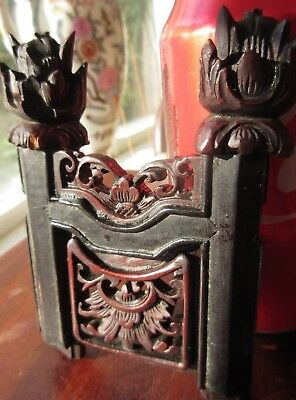 Antique Asian Carved Wood Piece Furniture Salvage Miniature Fence Gate Dollhouse