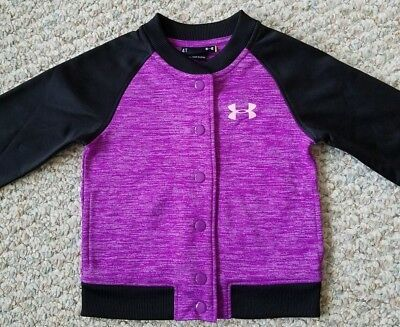 Under Armour NEW w/Tags Girls Purple with Black Snap Track Jacket Girls Size 4T