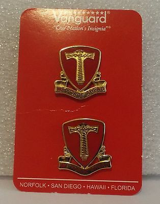 """NIP US Army 18th Support Battalion DI DUI UNIT CREST Clutch Pin """"We Forge Ahead"""""""