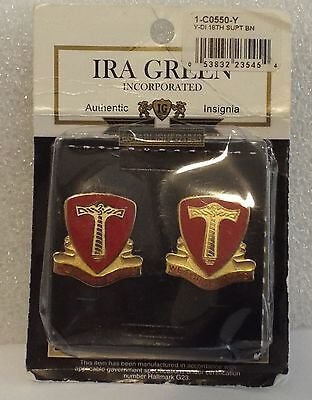 """NIP US Army 18th Support Battalion DI DUI UNIT CREST Ira Green """"We Forge Ahead"""""""