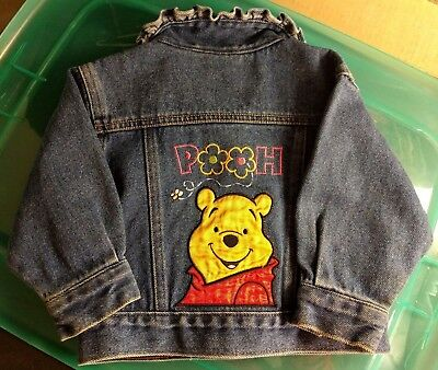 DISNEY WINNIE THE POOH Girls Denim Jacket 12 mo Toddler 100 Acre Collection Jean