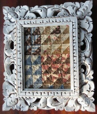 Antique 1800s Postage Stamp Quilt Piece Framed Wall Hang Early Fabric Handmade B