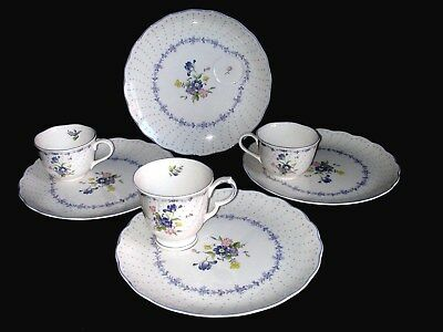 7 Piece Nikko China Blue Peony Snack Sets 4 Plates 3 Cups MINT