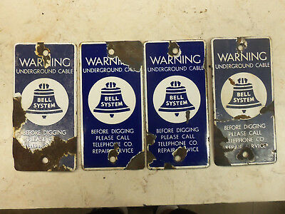 Vintage Porcelain Signs BELL SYSEM Underground Telephone Cable Warning Lot of 4