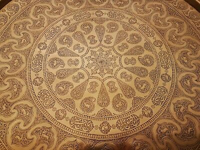 EXTREMELY FINE ANTIQUE PERSIAN ISLAMIC CAIROWARE HAND CHASED BRASS TRAY C1890's