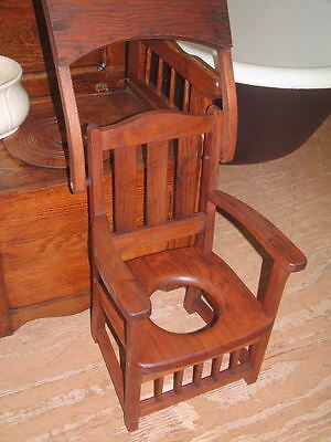 Vintage Child's Commode Chamber Arm Chair Potty Toilet Pot Tiger Oak Mission