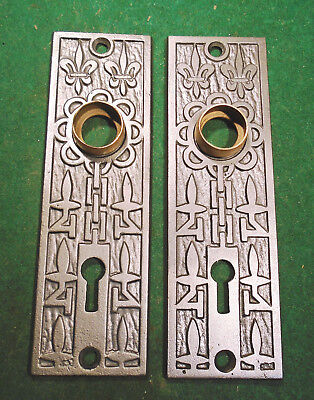 ONE PAIR VINTAGE M & W MALLORY & WHEELER CAST 'FLEUR di LIS' BACKPLATES   (3011)