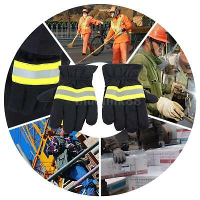 Fire Protective Gloves Heat-Retardant Cut-Resistant Gloves Reflective Strap J4I3