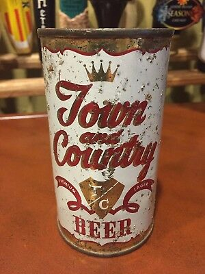 Town and Country Premium Lager Beer Flat Top Can, Pacific Brewing, Oakland, CA