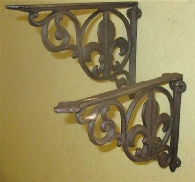 2 Elegant Eastlake Rustic Cast Iron Shelf Brackets Art Deco Ornate Clock Wall q