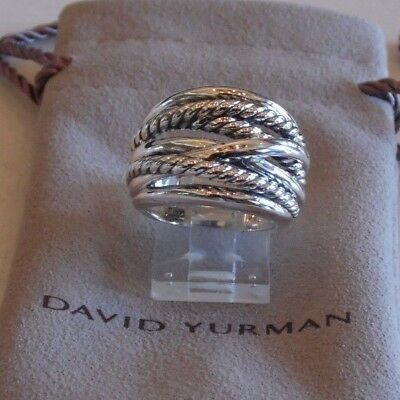 David Yurman New Wide CrossOver Sterling Silver Cable Band Ring Size 6 & Pouch
