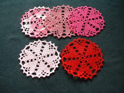 New Crochet ~  Six HEART Coasters/Small Doilies