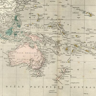Australia Oceania New Holland Hooked Lake Torrens 1855 Dufour uncommon old map