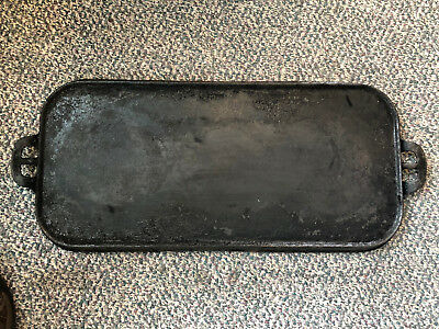 "Vintage Antique, ""Wagner"" #9, Cast Iron Griddle, 24"" Long, Flat"