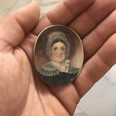 Antique 18th Early 19th Century Miniature Portrait Painting of a Woman, Lady