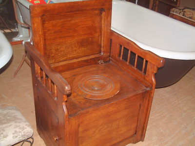 Vintage Commode Chamber Arm Chair Potty Toilet Pot Tiger Oak Mission