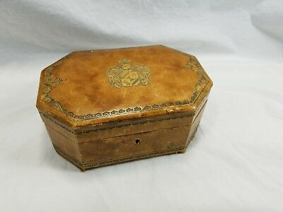 Vintage REUGE Swiss MUSIC BOX MOVEMENT Genuine Leather Jewlery box made in ITALY