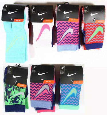 Kids' Nike 3-Pack Crew Socks Swoosh Logo,Pattern GIRLS BOYS YOUTH 9C-13C, 13C-3Y