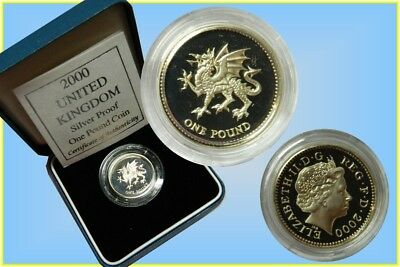 GB. 1 Pound 2000 Silver Proof ' Welsh Dragon'