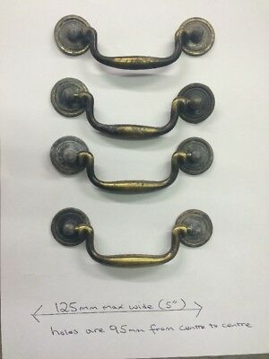 4x Lrg Vintage Victorian/Georgian Style Antique Drawer Handle Bronzed Pull Brass