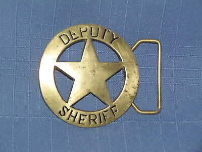 Solid Brass Deputy Sheriff Belt Buckle Very Good Condition