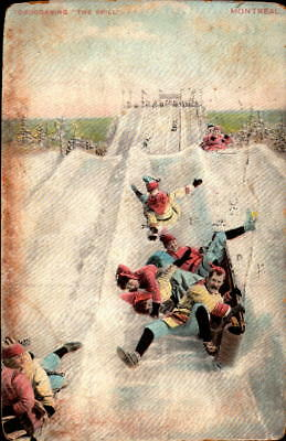 Postcard Tobogganing the Spill Montreal Canada 1910 Postmark