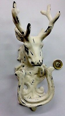Large Vintage Stag Head cast iron door knocker,door handle,deer antlers