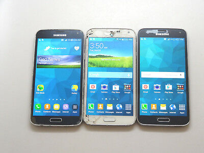 Lot of 3 Samsung Galaxy S5 T-Mobile SM-G900T 16GB Smartphones AS-IS GSM ^