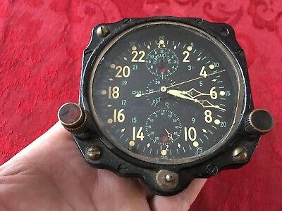 US Navy Jaeger LeCoultre Chronoflite Aircraft Clock Cock pit Military 8 day