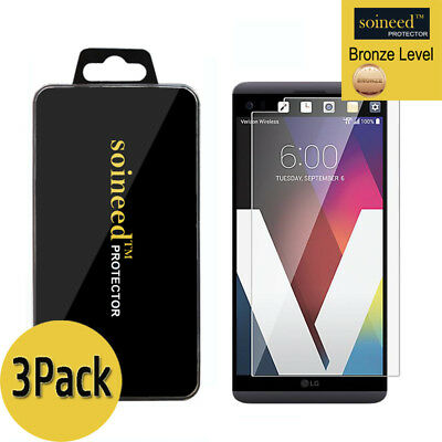 [3-Pack] SOINEED Clear HD Tempered Glass Screen Protector Film Saver For LG V20
