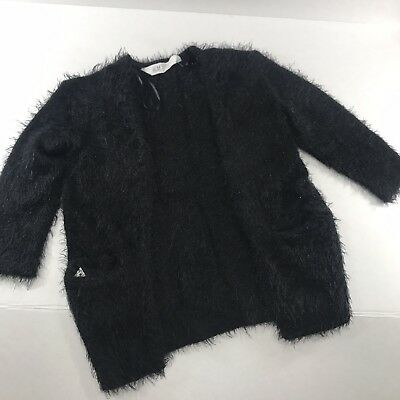 Toddler Girls 1.5/2y 18/24m NWOT H&M Fluffy Furry Knit Open Front Cardigan Black