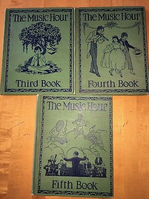Antique Lot of 3 THE MUSIC HOUR BOOKS--Third, Fourth, & Fifth**Illustrated too.